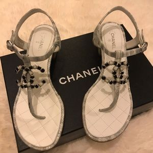 Chanel Suede Goatskin White & Silver Silver Sandal